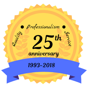 yellow 25th anniversary badge with blue 1993-2018 banner